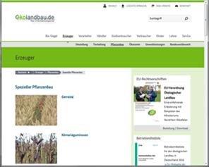 Oekolandbau.de: portal for organic plant production