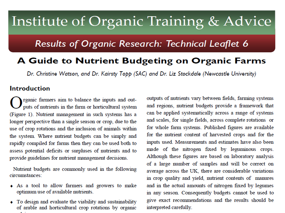 A Guide to Nutrient Budgeting on Organic Farms