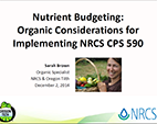 Nutrient Budgeting: Organic Considerations for Implementing NRCS CPS 590