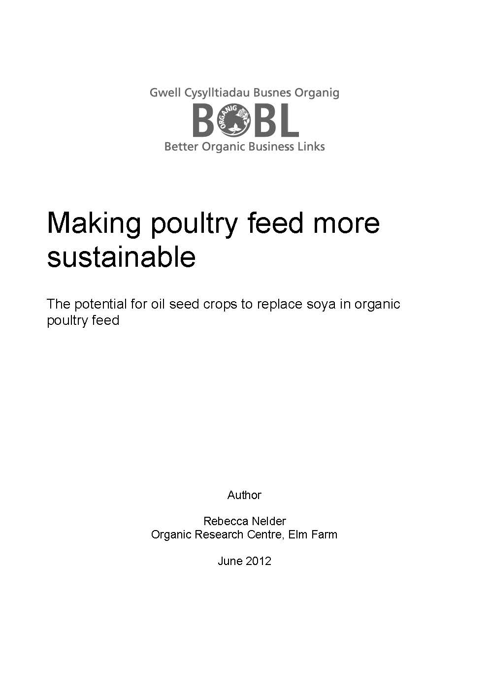 Making poultry feed more sustainable