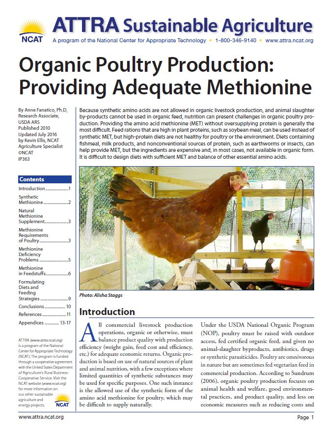 Organic Poultry Production: Providing Adequate Methionine