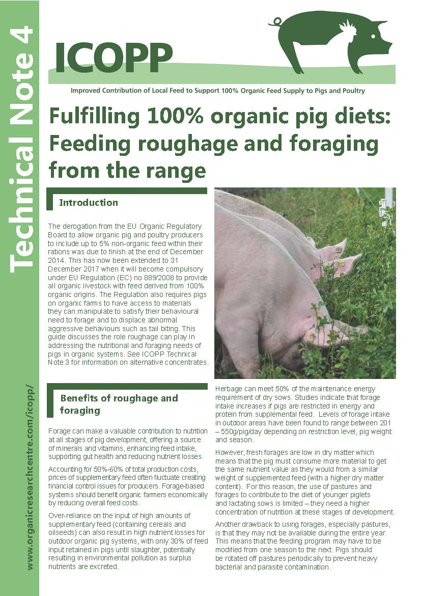 Fulfilling 100% organic pig diets: Feeding roughage and foraging from the range