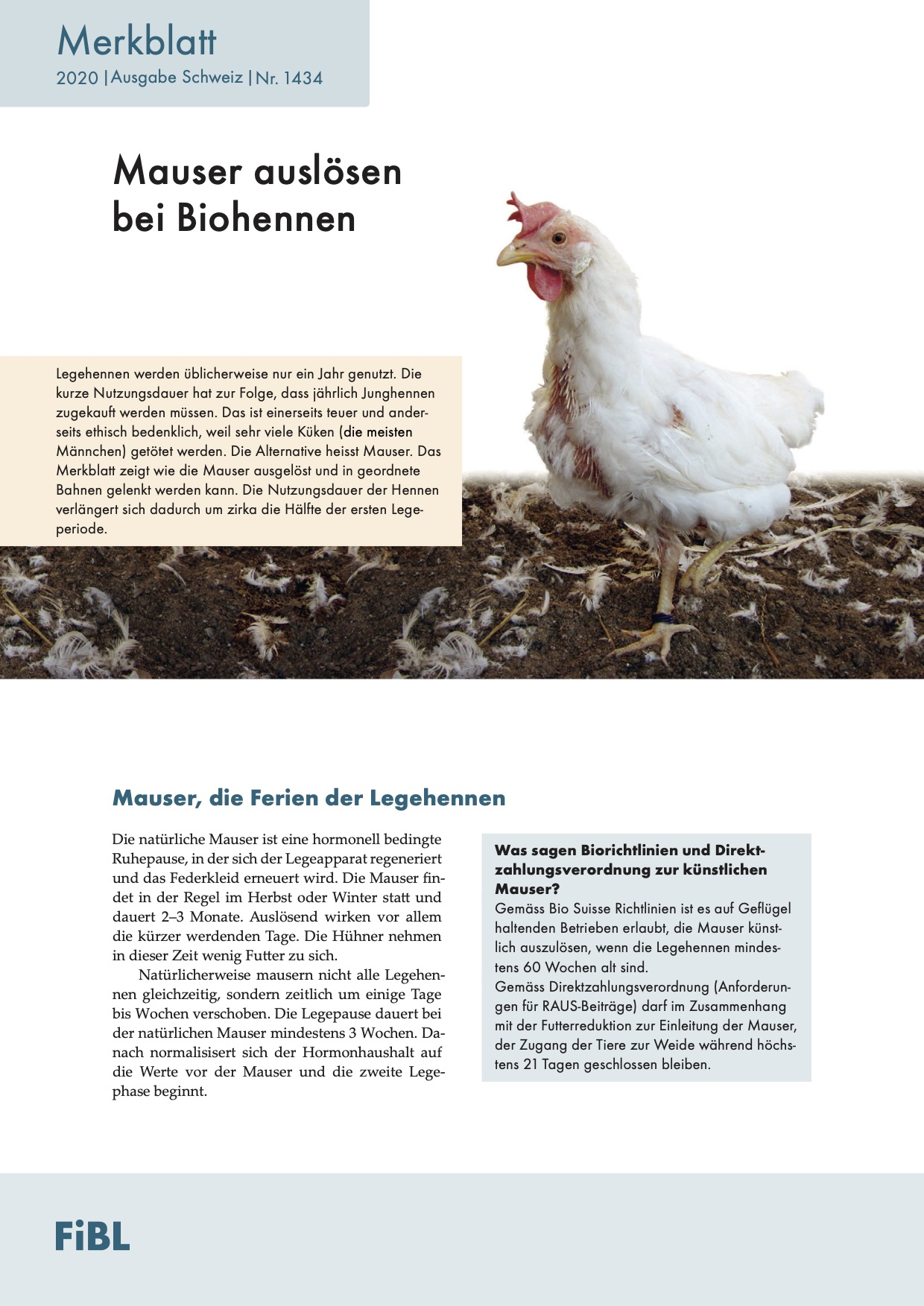Inducing moulting in organic hens