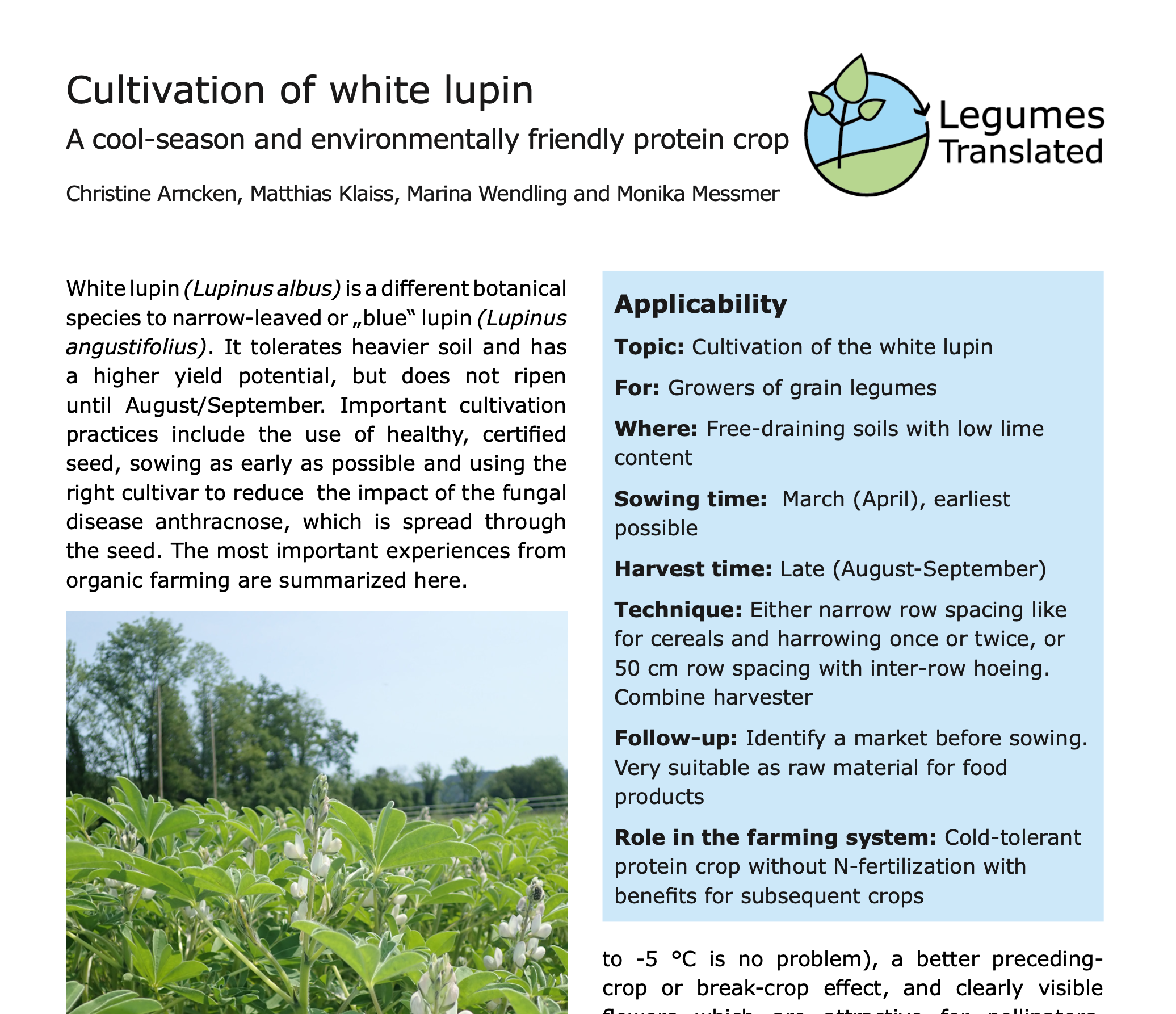 Cultivation of white lupin – a cool-season and environmentally friendly protein crop
