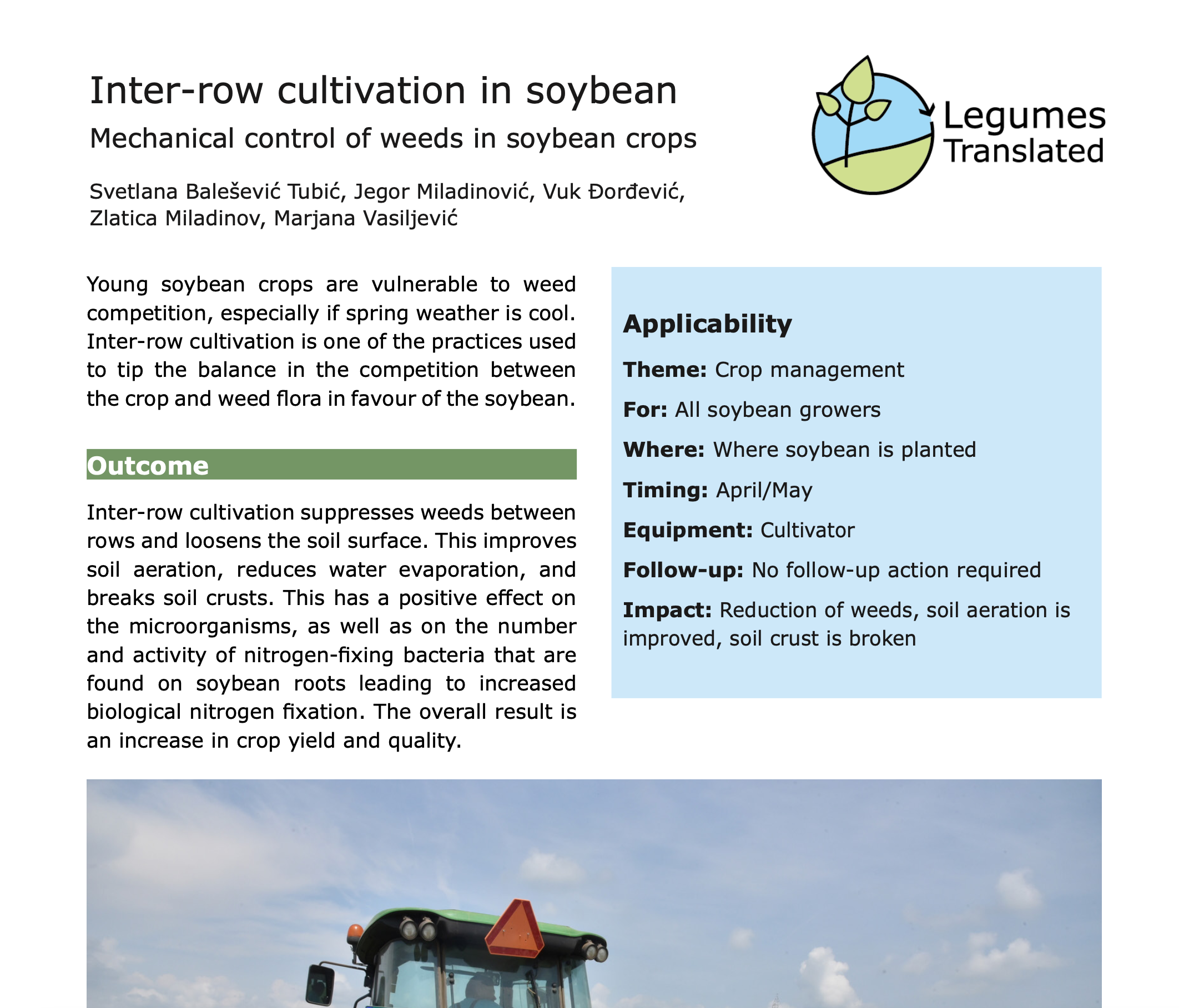 Inter-row cultivation - Mechanical control of weeds in soybean crops